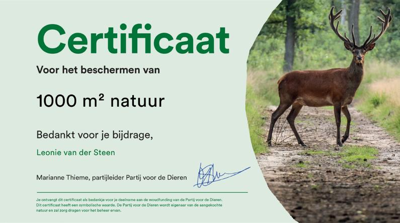 Woudfunding Certificaat Partij voor de Dieren